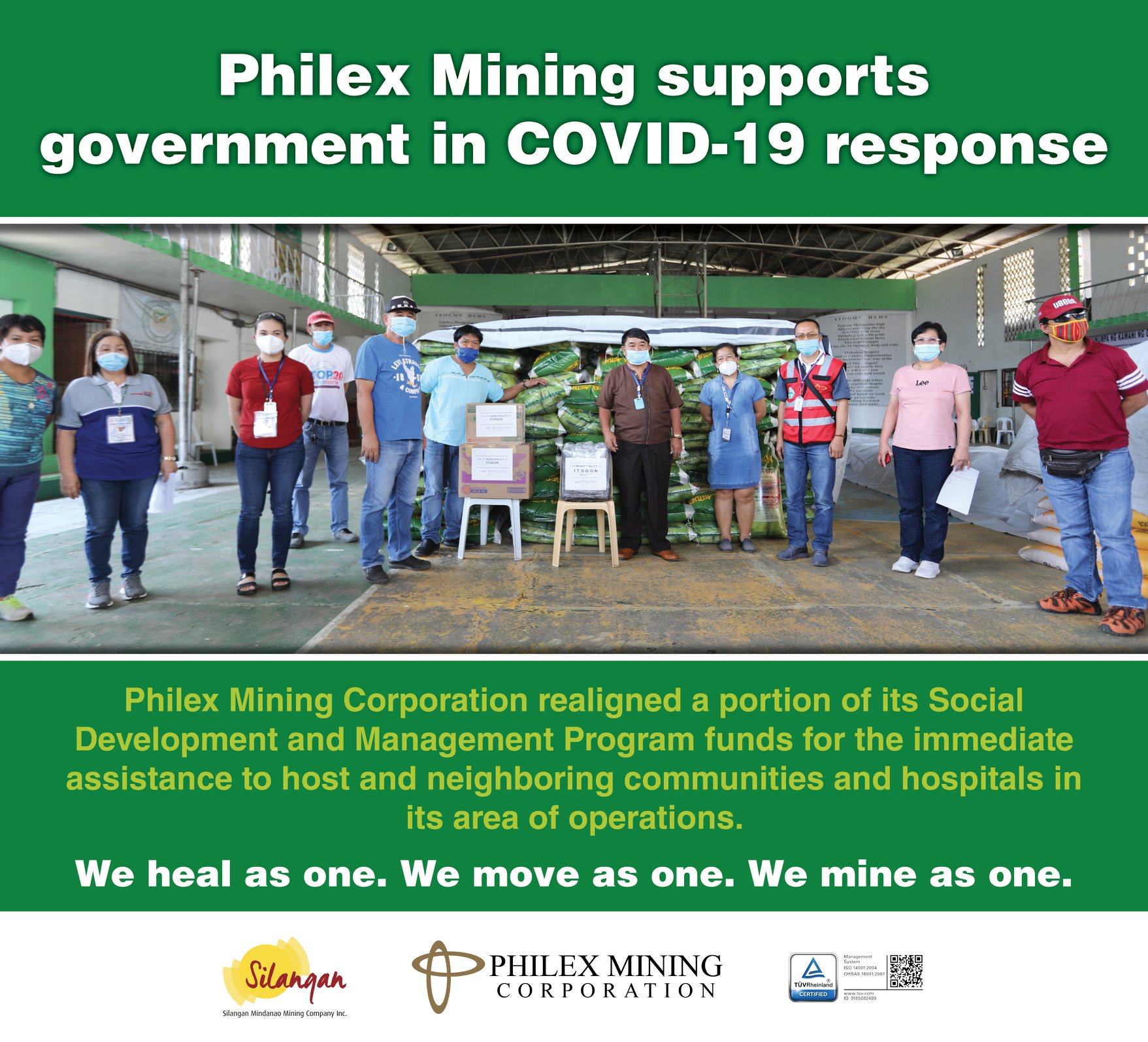 Philex Mining supports government in COVID-19 response